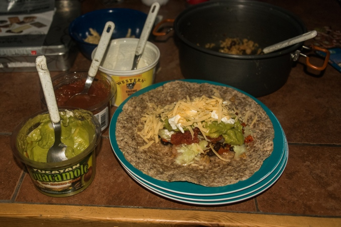 burrito night during winter camping at Parc national du Mont-Mégantic