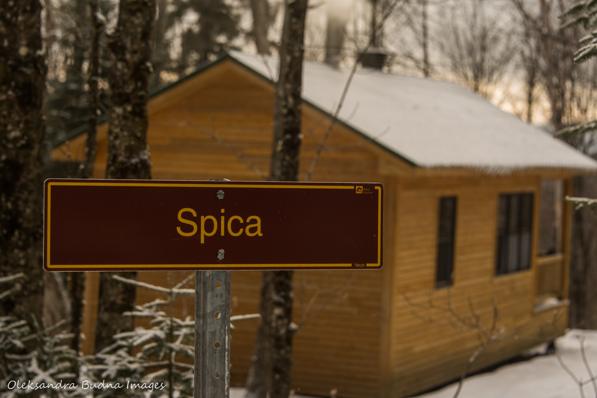 Rustic shelter Spica at Parc national du Mont-Mégantic inQuebec in the winter