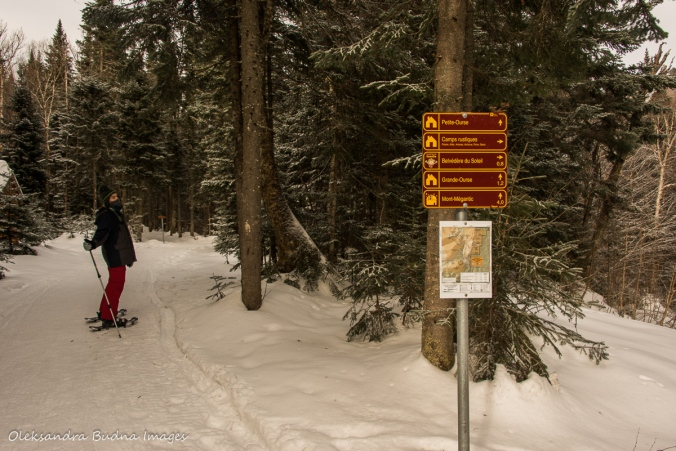 trail signs at Parc national du Mont-Mégantic