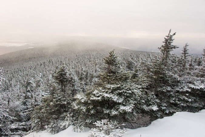 view from Mont Mégantic in Quebec in the winter