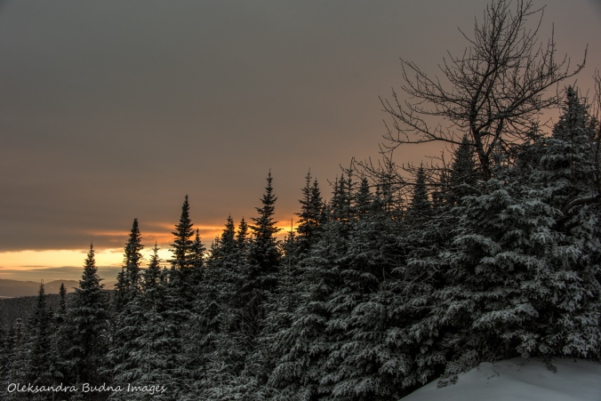 sunset from from Col-des-Trois-Sommets at Parc national du Mont-Mégantic in Quebec