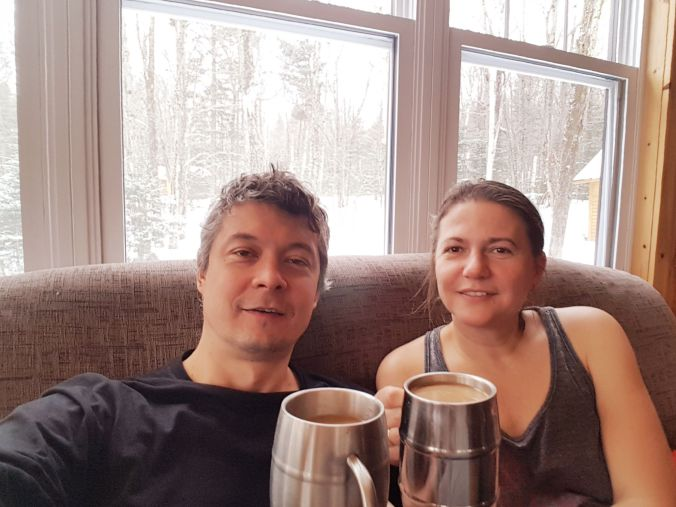having coffee inside Spica rustic shelter at Parc national du Mont-Mégantic in Quebec