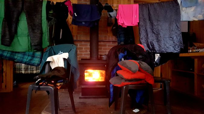 drying clothes and gear inside Spica rustic shelter at Parc national du Mont-Mégantic in Quebec