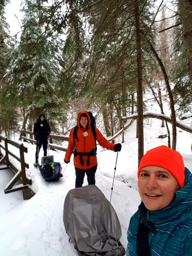 ready to transport gear and supplies at Parc national du Mont-Mégantic in the winter