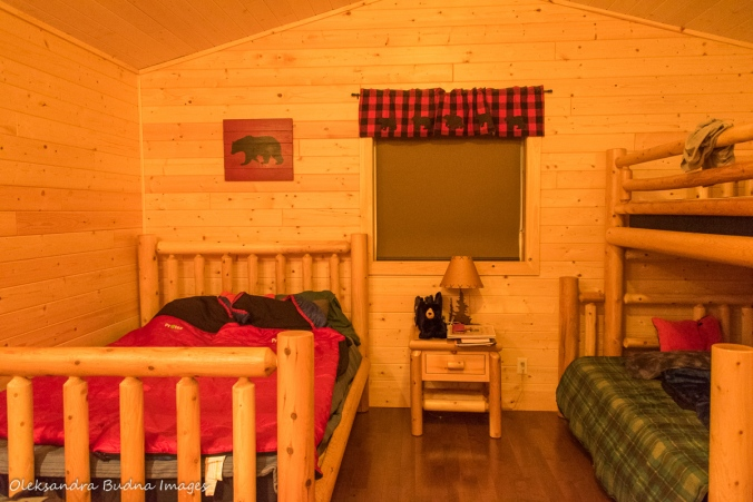 inside Black Bear's Den cabin at Silent Lake Provncial Park