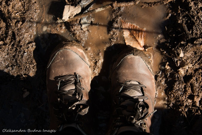 hiking shoes in mud
