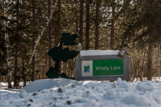 Windy Lake Provincial Park sign in the winter