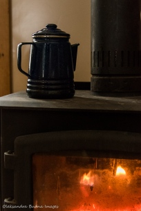 wood stove in a four-season tent in Gatineau