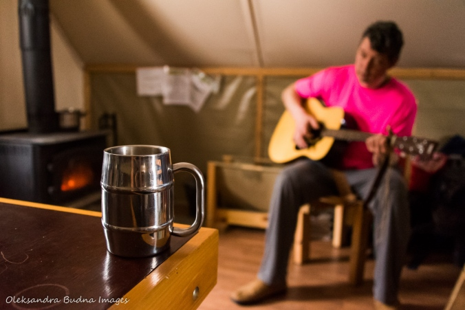 morning coffee and guitar in four-season tent in Gatineau