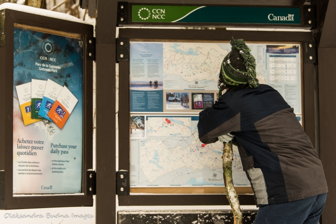 looking at a map in Gatineau in the winter