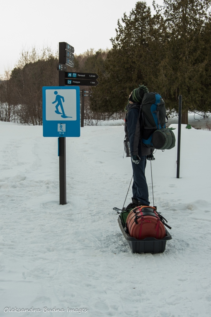 snowshoeing to four-season tent in Gatineau in the winter