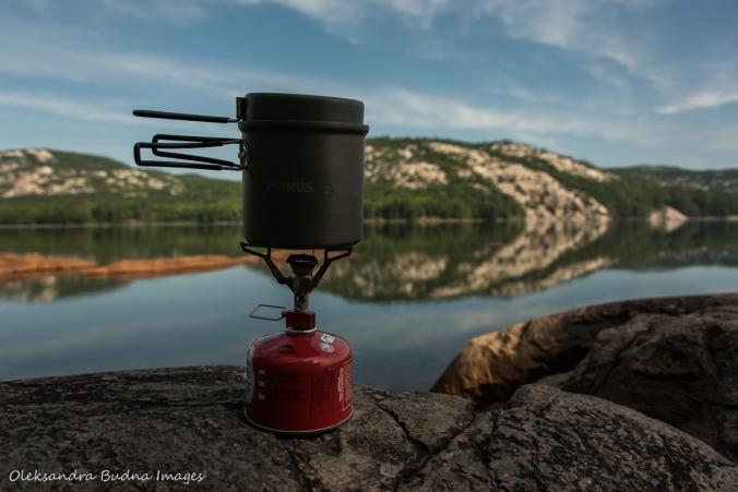 cooking stove with Killarney Lake in the background
