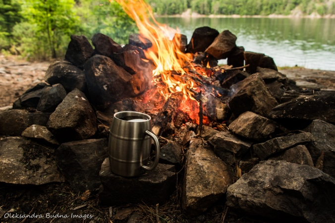 campfire at site 21 on Killarney Lake