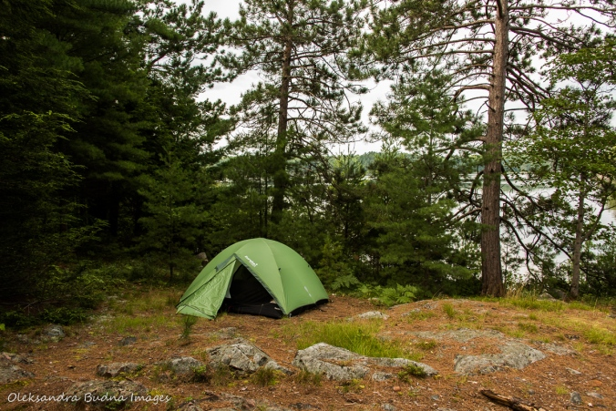 tent on view from site 52 on Three Narrows Lake in Killarney