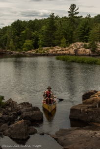 paddling on Kirk Creek from Three Narrows Lake to McGregor Bay in Killarney
