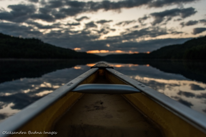 paddling during sunrise on Nellie Lake in Killarney