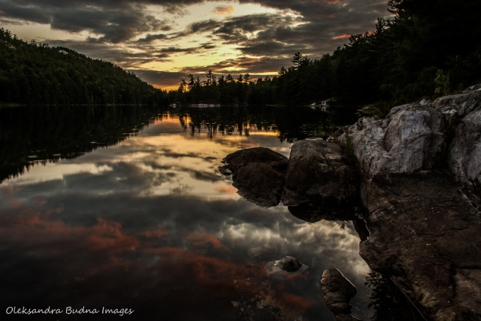 sunset from site 179 on Grace Lake in Killarney
