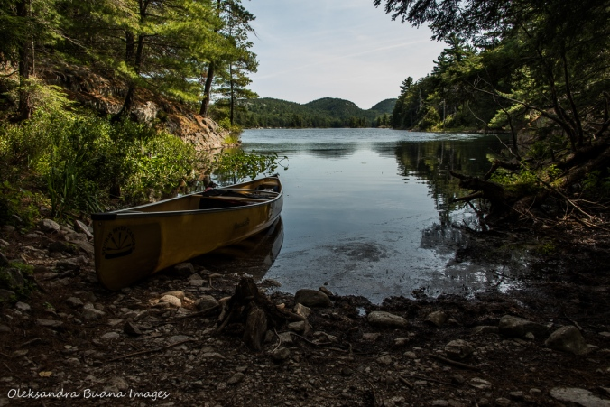 canoe at the beginning of portage from Grace Lake to Cranberry Bay in Killarney