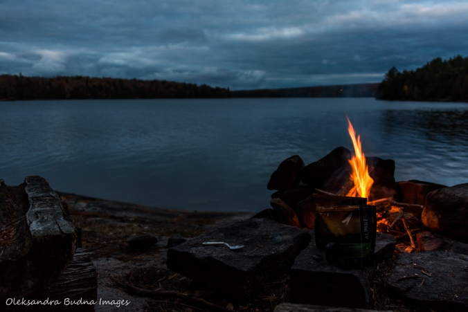 campfire and view of Lake Louisa from a campsite