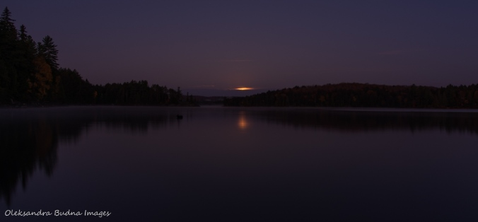 moon set over Lake Louisa in Algonquin