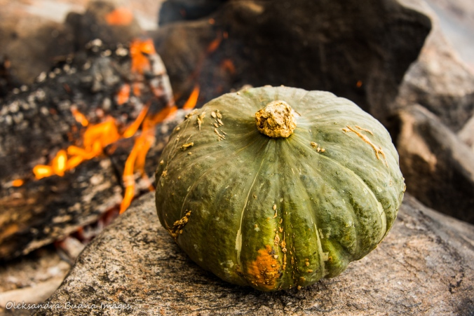 buttercup pumpkin by the fire