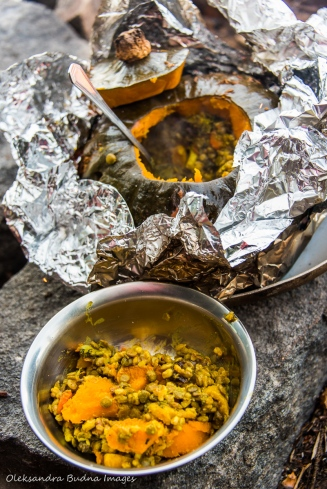 stuffed buttercup squash by the campfire