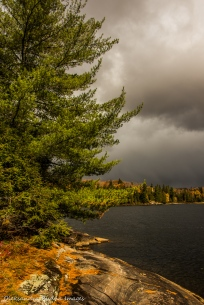 dark clouds over Lake Louisa in Algonquin