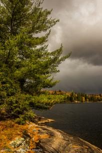 dark clouds over Lake Louisa in Algonquin