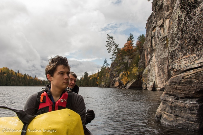 looking for pictographs on Rock Lake in Algonquin