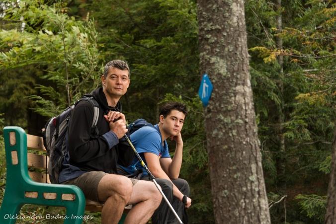 taking a break while hiking Lakeshore Trail at Silent Lake