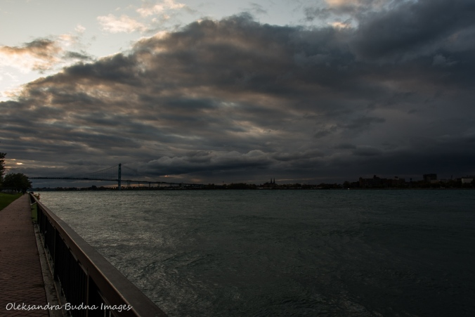 Detroit River and Ambassador bridge in Windsor
