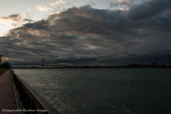 Detroit River and Ambassador bridge in Windsor