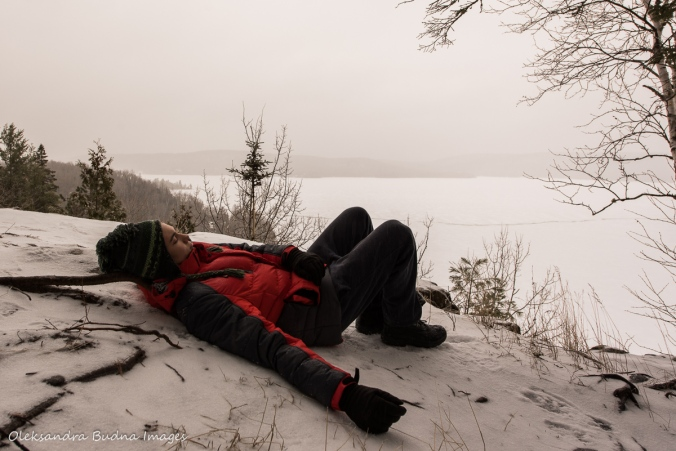 taking a break on the trail at Les Toits du Monde