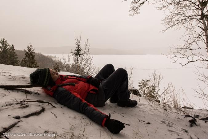 taking a break on the trail at Les Toits du Monde