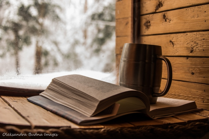 book and coffee on the window in the Hobbit House at Les Toits du Monde