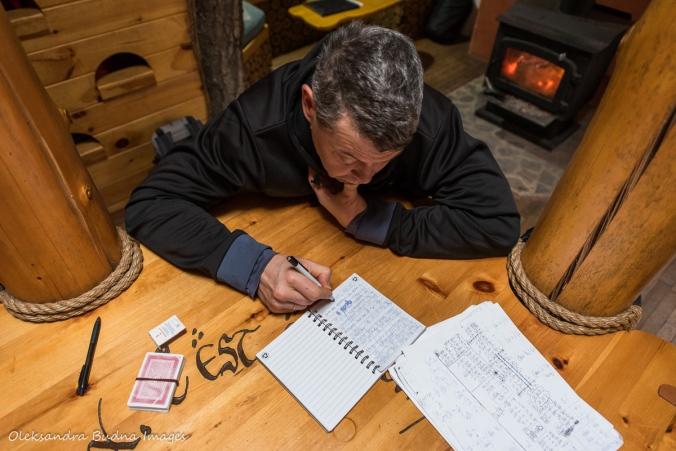 doing math in the Hobbit House at Les Toits du Monde