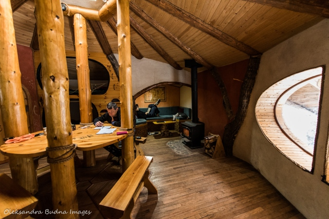 insie the Hobbit House at Les Toits du Monde