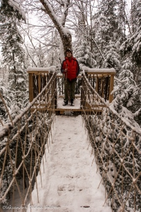 hanging bridge at the Perched Chalet at Les Toits du Monde