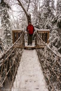 hanging bridge at the Perched Chalet at Les Toits du Monde