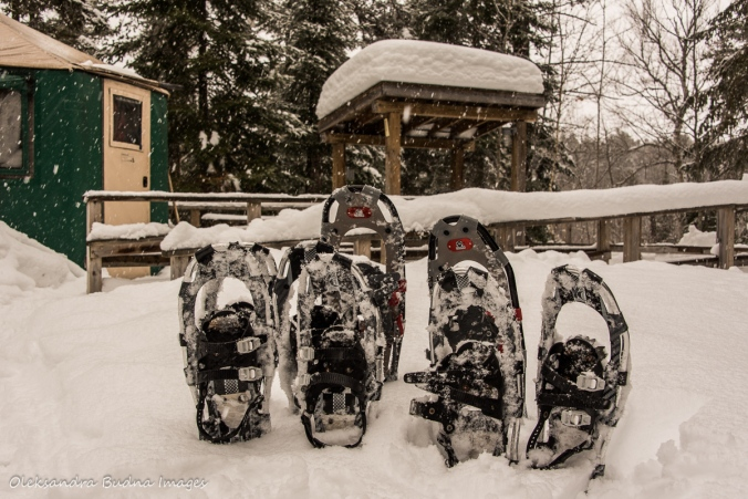 snowshoes in front of a yurt at Windy Lake Provincial Park