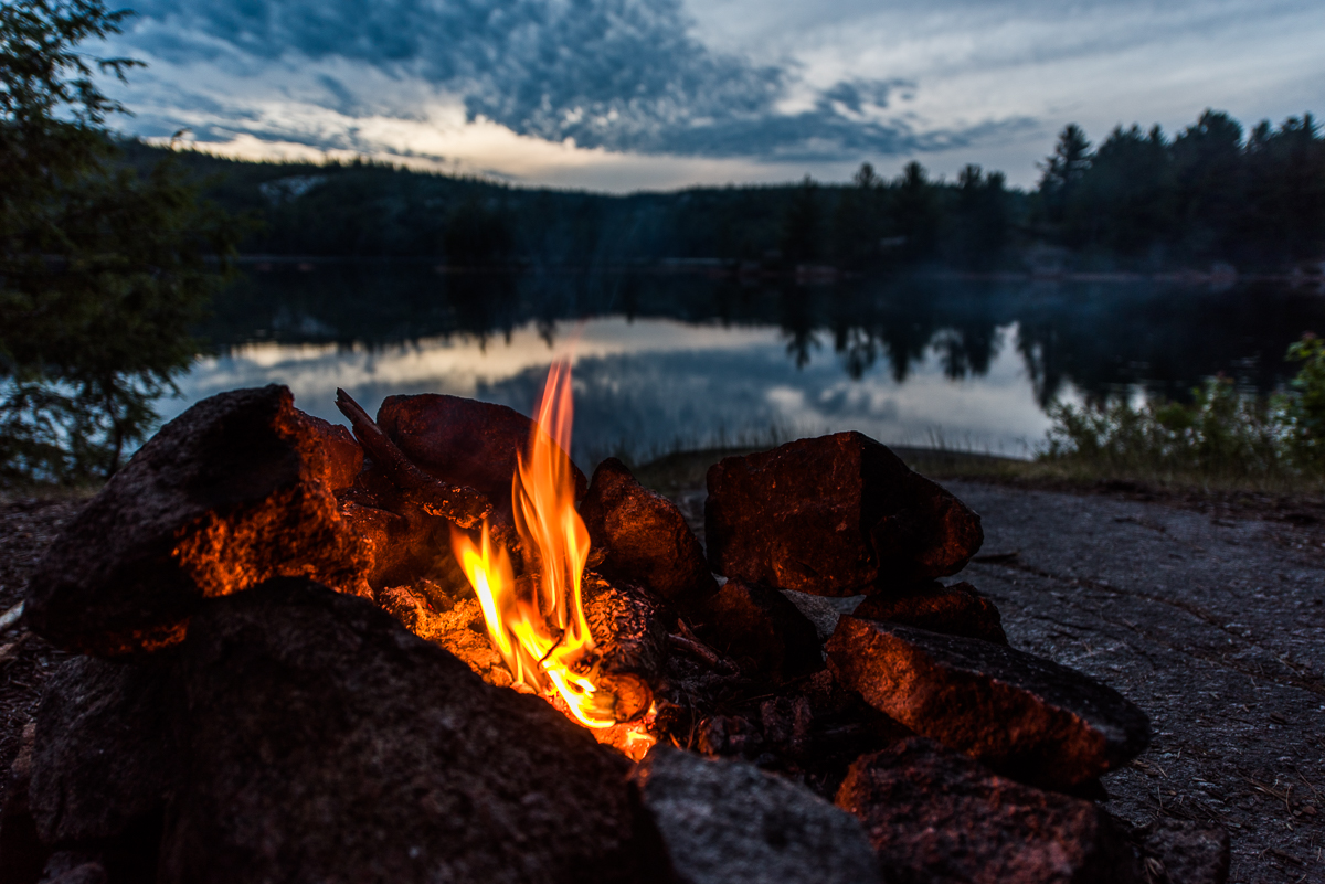 campfire on site 72 on Ruth-Roy Lake in Killarney