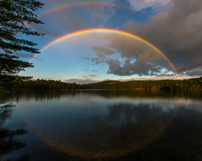 Beautiful double rainbow over Nellie Lake