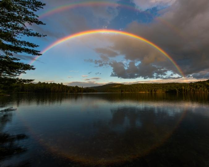 Beautiful double rainbow over Nellie Lake