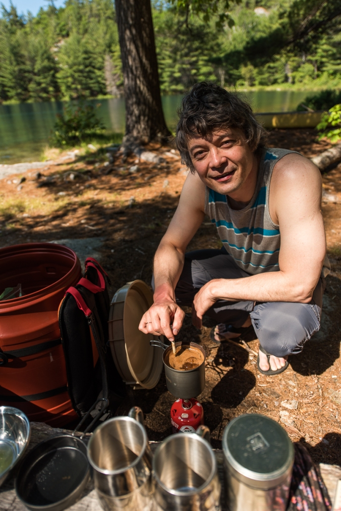 making coffee during camping