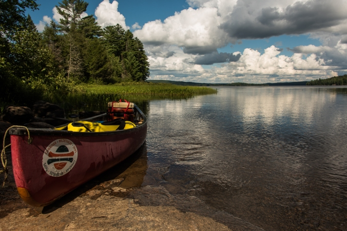red canoe at the North Tea Lake portage