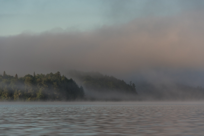 foggy morning on Manitou Lake in Algonquin
