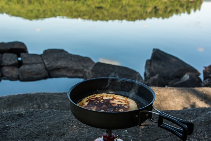 making pancakes by the lake
