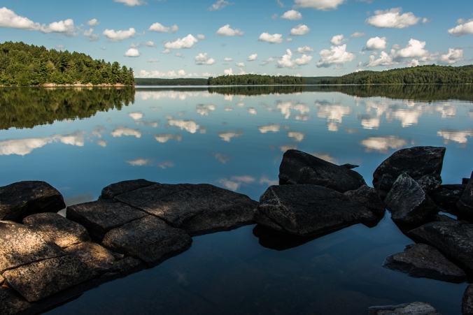 view from a campsite on manitou Lake in Algonquin