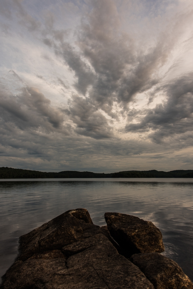 cloudy day on Manitou Lake in Algonquin