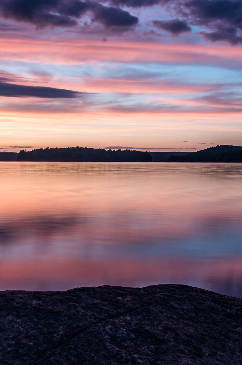 sunset on lake Manitou in Algonquin